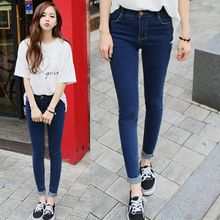 2015 autumn high waist jeans female skinny pants tight-fitting plus size ultra elastic pencil pants trousers(China (Mainland))