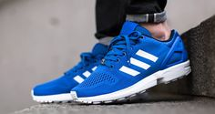 """Simple, yet bold. That's exactly what I would say to describe the latest adidas ZX Flux """"Strong Blue"""" . Sneakers For Sale, Blue Sneakers, Running Sneakers, Running Shoes For Men, Mens Running, Sneakers Women, Leather Sneakers, Adidas Sneakers, Shoes Sneakers"""