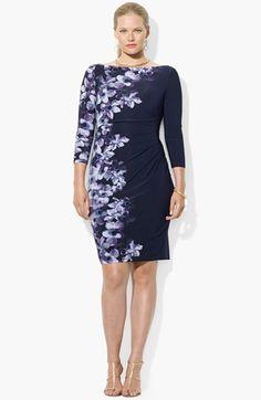 Lauren Ralph Lauren Floral Print Jersey Sheath Dress (Plus Size) available at #Nordstrom