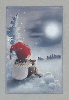 """From the """"Adventures of Pukkutonttu"""" series, no 8 -- of Finnish Christmas cards -- by Kaarina Toivanen Christmas Clipart, Noel Christmas, Christmas Printables, Christmas And New Year, Christmas Crafts, Illustration Noel, Christmas Illustration, Illustrations, Vintage Christmas Images"""