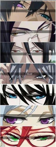 Ciel, Claude, Sebastian, Undertaker, Alois, Angela and Grell - eyes