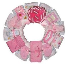 Pink Diaper Wreath, great idea for a baby shower gift!