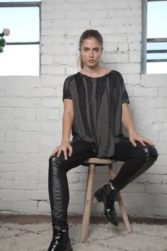Marble Dye Tunic and Faux Leather Leggings