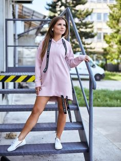 Predĺžená mikina VSB-Sophii ružová s čiernou VSB stuhou Shirt Dress, Sweaters, Shirts, Dresses, Fashion, Vestidos, Moda, Shirtdress, Fashion Styles