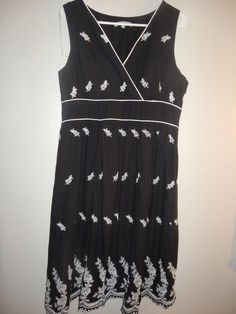 Womens embroidered black/white dress size XL NY Collection #NYCollection #classicembroidered #Casual