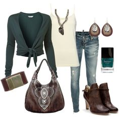 teal and brown, created by marnifox on Polyvore