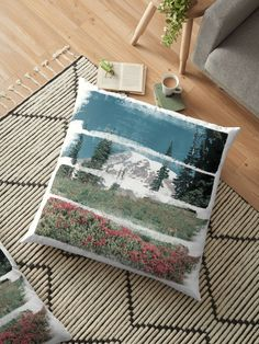 A retro glimpse of Mount Rainer through horizontal paint strokes. • Millions of unique designs by independent artists. Find your thing. Floor Pillows, Throw Pillows, Paint Strokes, Canvas Prints, Art Prints, Cotton Tote Bags, Amazing Photography, Chiffon Tops, Finding Yourself