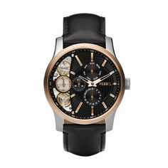 Fossil Mens ME1099 Black Leather Strap Textured Black Cutaway Analog Dial Chronograph Watch $115.00