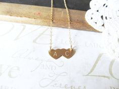 TRUE LOVE personalized hand stamped double heart by brideblu, $22.00