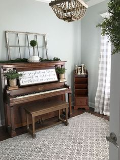 Piano Room. This is a 100-year old piano found on Craigslist. Home office with piano. Farmhouse style piano room. Piano room #pianoroom #farmhouse Beautiful Homes of Instagram /ourvintagenest/