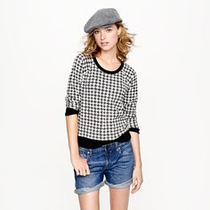 I have my eye on this houndstooth sweatshirt. Perhaps with my leather panelled skirt? Light grey wide-legged trousers...