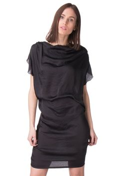 LIU JO Satin Blouson Dress Size 46   XL Elasticated Waist Draped Cowl Neck   fashion d48c4d090be