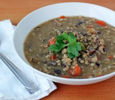 mushroom, barley and black eyed pea soup