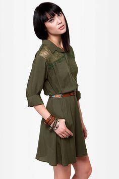 Cute Olive Green Dress - Shirt Dress - Long Sleeve Dress - $49.00