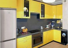 Divine Renovations Summer Fun Design Inspiration Small #Yellow #Kitchen #Design