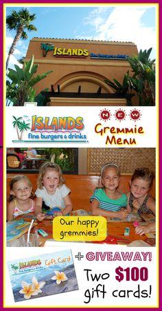 Islands New Gremmie Menu (  $100 Giveaway!) Tiny Oranges, Kids Menu, Drink Menu, Gift Card Giveaway, Healthy Options, Giveaways, Disneyland, Islands, Restaurants