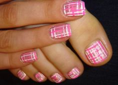 23 Cute Pedicure Designs for You | Glam Bistro Pink and white striped nail art fr a pedicure. Cute! #nailart #Pedicure