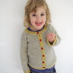 NEW - Inside Out Cardigan - girls sweater size 2-4 - luxurious natural yarn - seamless - OOAK via Etsy