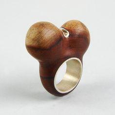 METAMORPHOSIS Ring Wood  Encrusted Silver by GustavoParadiso