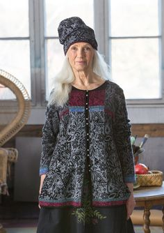 """A fiesta of patterns – GUDRUN SJÖDÉN –  """"Folklore"""" beanie in wool/lyocell Jacquard-knit beanie in a softly rounded shape with a pretty floral pattern. Double-sided knit for a reversed colour effect if you fold up the bottom edge. Article number 67914 Price £ 26  60% wool/40% lyocell in a fine jacquard knit. The wool is mulesing-free."""