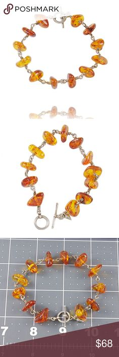 """Beaded Bracelets Amber Silver Wire All beaded jewelry on closeout-clearance sale! MAKE AN OFFER  Large polished Amber chips with silver, has toggle clasp  length=8"""", fit will vary with wire formed connections vs string beaded, size up  ONE OF A KIND  amber, natural, wire work, chic Artisan Jewelry Bracelets"""