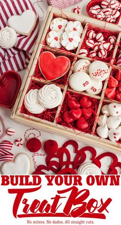 Build Your Own Treat Box with Interchangeable Inserts (Remodelaholic) Valentines Baking, Valentines Gift Box, Valentines Day Cookies, Valentines Day Desserts, Valentine Cookies, Baking Packaging, Cookie Packaging, Dessert Boxes, Sweet Box