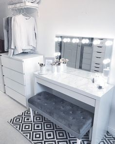 Bedroom Ideas For sensational to comfy decor, room decor article number 7388486517 - Ingenious and cozy concept to create that really incredible and super sensational decor . diy home decor bedroom ideas mirror Example shared on this date 20181214 , Vanity Room, Ikea Vanity Table, Makeup Table Ikea, Makeup Tables, Closet Vanity, Cute Room Decor, Wall Decor, Grey Room Decor, Mens Room Decor