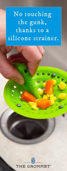 This flexible, silicone kitchen sink strainer makes it easy (and cleaner) to get rid of the leftover food bits that build up in drains.  It's a handy kitchen hack.