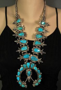 """Large Old Pawn Vintage Navajo Sterling Turquoise 27"""" Squash Blossom Necklace"""