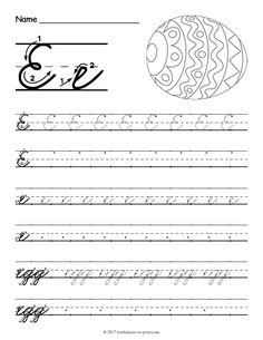 Help kids learn how to write both an uppercase and a lowercase cursive letter e with this fun handwriting worksheet featuring an egg. Cursive Writing Practice Sheets, Teaching Cursive, Cursive Handwriting Practice, Handwriting Sheets, Cursive Writing Worksheets, Letter Tracing Worksheets, Improve Your Handwriting, Handwriting Analysis, Cursive Abcd