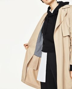 Image 2 of FLOWING TRENCH COAT WITH GINGHAM CHECK LINING from Zara