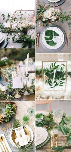 botanical greenery wedding table setting ideas for 2017 trends #weddingdecoration