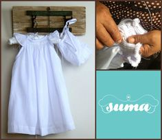 White Cotton Christening Gown Baptism dress with by SUMACLOTHING