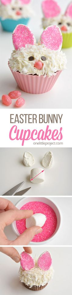 These Easter bunny cupcakes are SO ADORABLE! And they are so simple to make! Those marshmallow ears are just brilliant, and I love the coconut fur! Such a fun idea for an Easter treat, or even a spring birthday party! Easter Bunny Cupcakes, Fun Cupcakes, Easter Treats, Birthday Cupcakes, Simple Cupcakes, Birthday Parties, Birthday Brunch, Easter Food, Easter Cookies