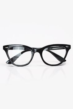 Solid Frame Cat Eye Glasses - Black #1030-2
