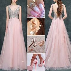 Lovely pink!  #Ring #Earrings #Shoes #PartyDress #PromDress #Fashion