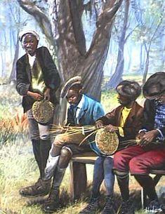Weaving Gullah Art, African American Art by John Jones at Gallery Chuma, Charleston, SC