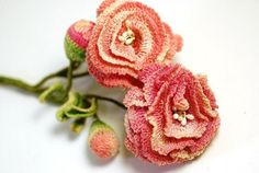 Vintage crocheted carnations  Oooh, with pretty blingy buttons or vintage pins in the center?!