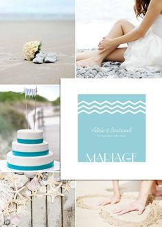 Inspiration et décoration pour un mariage sur le thème de la mer. Faire-part mariage mer de couleur bleue, création exclusive www.invitation-originale.com