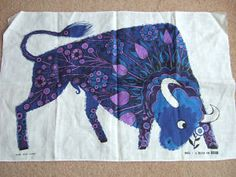 Bull tea towel for Oxfam