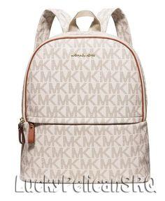 Michael Kors  MK Signature  PVC Large Backpack Vanilla Beige NWT #MichaelKors #Backpack