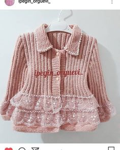 Lace cardigan was the expression of those who want to do . Lace Cardigan, Dress With Cardigan, Knitting For Kids, Baby Knitting Patterns, Cute Baby Girl Outfits, Kids Outfits, Baby Pullover, Model Outfits, Baby Sweaters