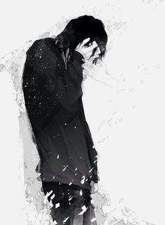 Anime boy, sad, crying, ghost, spirit, black hair; Anime Guys