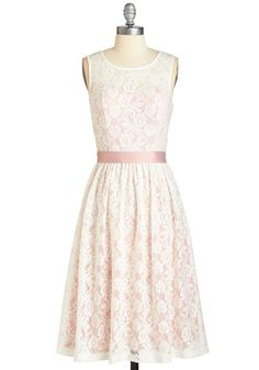 Lacy in Love Dress in Blush - White, Blush, Lace, Belted, Wedding, Daytime Party, Graduation, Bridesmaid, Valentine's, Vintage Inspired, Fairytale, A-line, Sleeveless, Spring, Exclusives, Variation, Private Label, Pink, Pastel, Long, As You Wish Sale, Summer, Sweetheart
