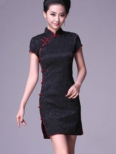 Black Short Cheongsam / Qipao / Chinese Party Dress
