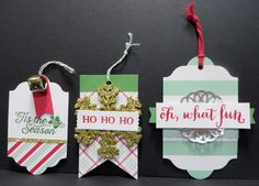 Sneak Peek Stampin' Up 2015 Holiday catalog Oh What Fun Tag Project Kit made by Lynn Gauthier. 3 More tags.