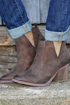 Cut It Out Booties - Brown