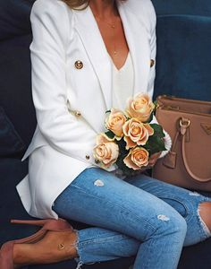 #winter #outfits white top, jacket, ripped jeans, pink heels