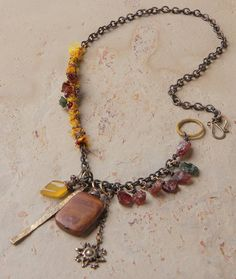 Saffron necklace: garnet rough nuggets, norena jasper, wire wrapped sari silk ribbon, Vintaj charm