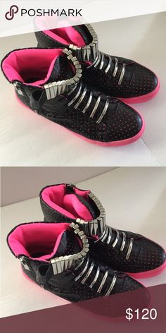 JEFFREY CAMPBELL KEIFER SNEAKER Excellent condition. Worn once. Black and fushia. No box. Jeffrey Campbell Shoes Sneakers